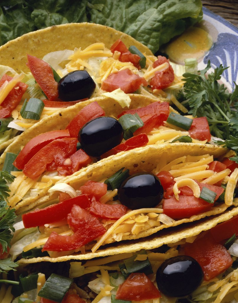 High angle view of three tacos in a plate : Stock Photo
