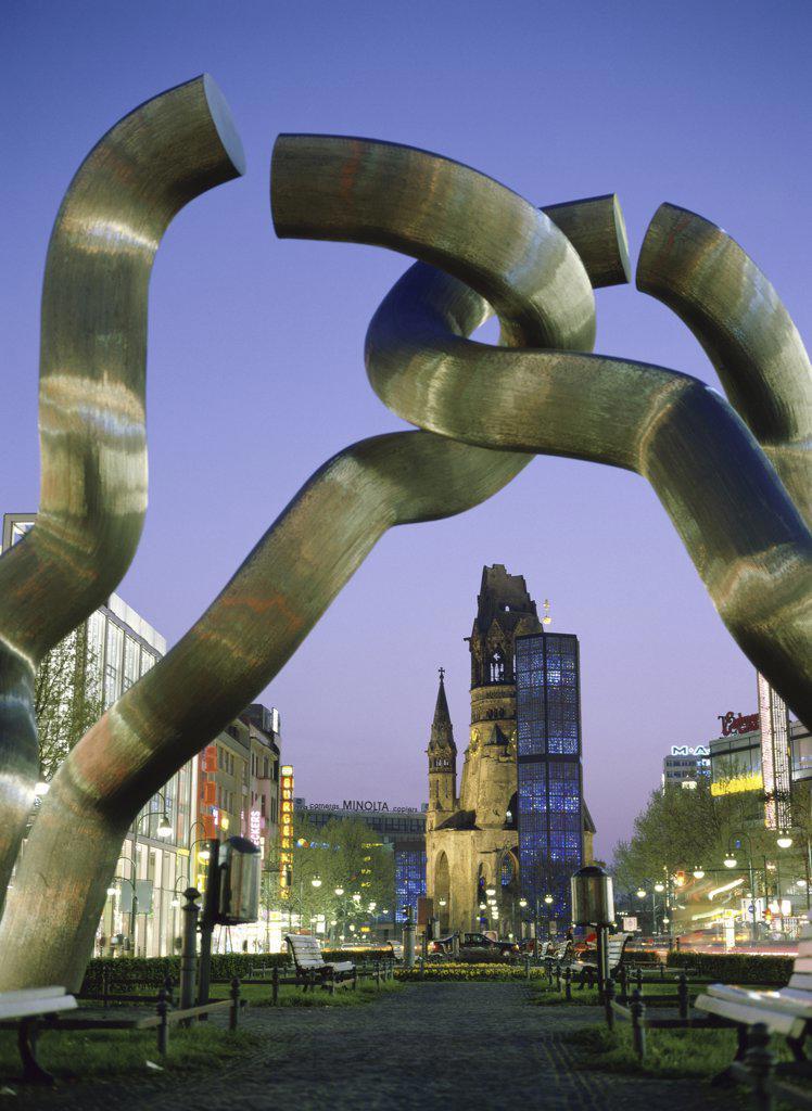 Stock Photo: 1574R-017990A Berlin Monument  Kaiser Wilhelm Memorial Church  Berlin  Germany