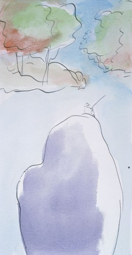 Stock Photo: 1574R-018283 Thoughtful Diana Ong (b. 1940 Chinese-American) Watercolor Private Collection