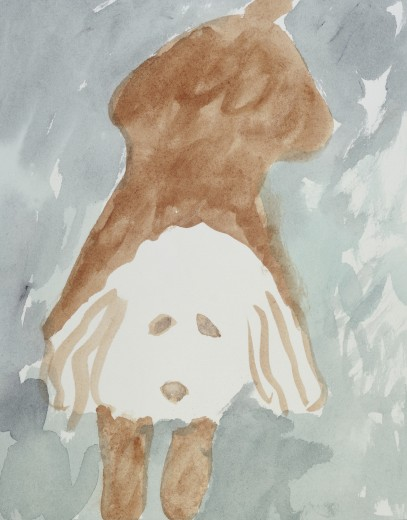 Stock Photo: 1574R-018285 Puppy Diana Ong (b. 1940 Chinese-American) Watercolor Private Collection