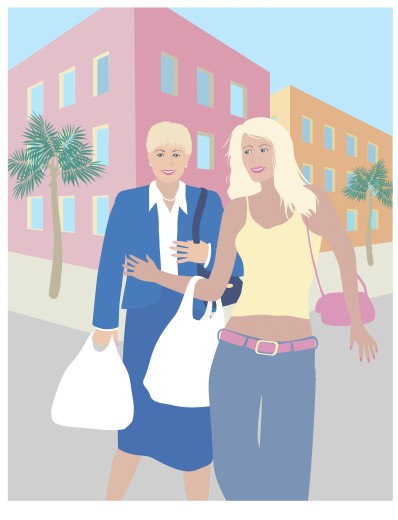 Stock Photo: 1574R-019083 The Two Blond Shoppers