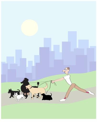 Stock Photo: 1574R-019119 Dog Walker 3 Linda Braucht (20th C. American) Computer Graphics