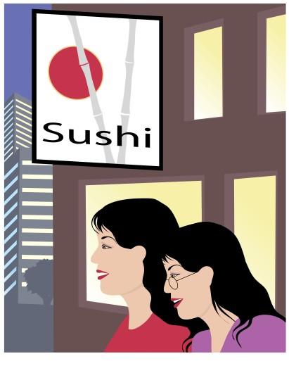 Sushi Gals Linda Braucht (20th C. American) Computer Graphics : Stock Photo
