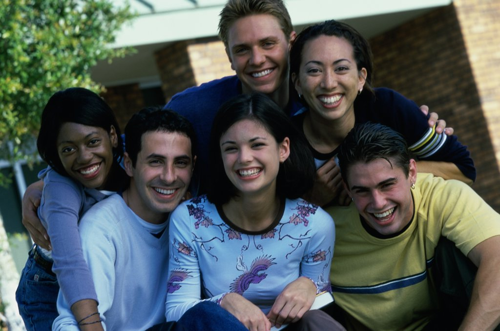 Stock Photo: 1574R-02083H Portrait of a group of teenagers smiling