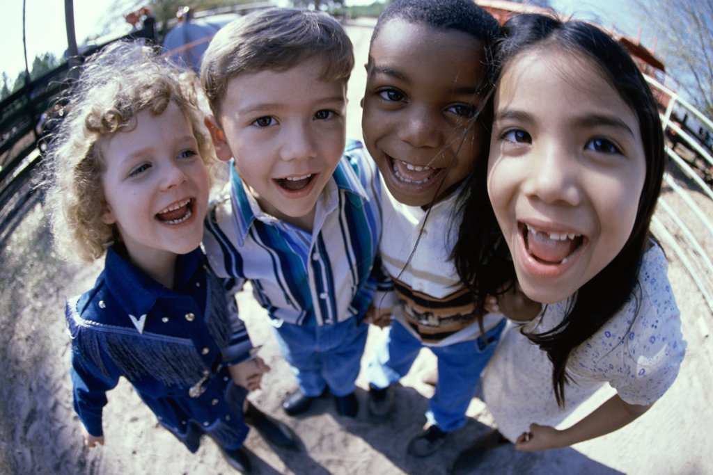 Stock Photo: 1574R-02513B Close-up of a group of children standing