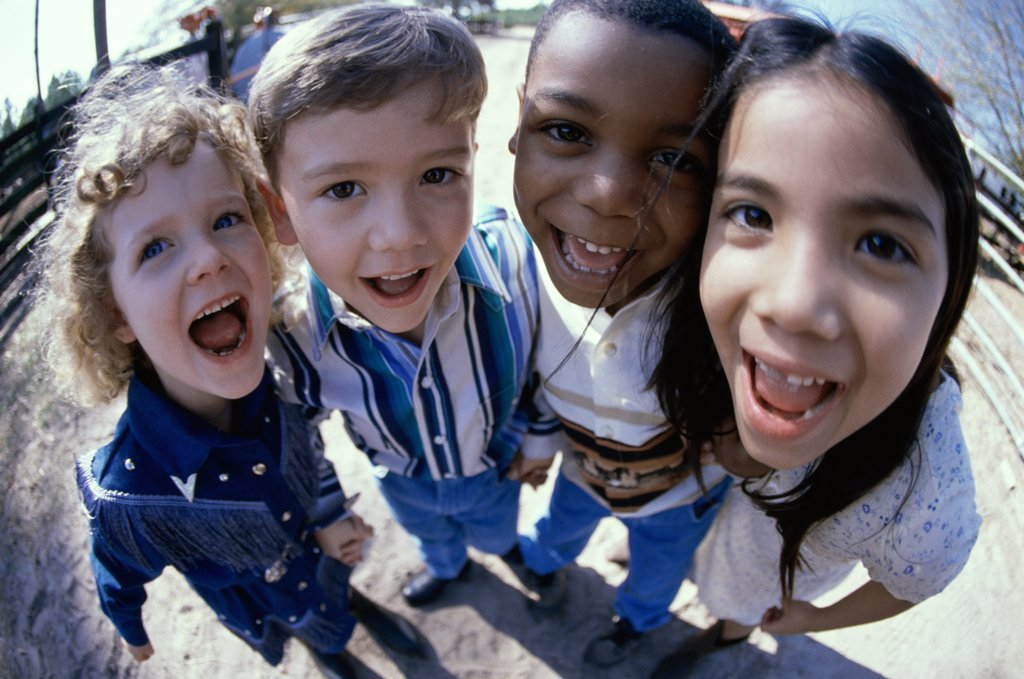 Close-up of a group of children standing : Stock Photo