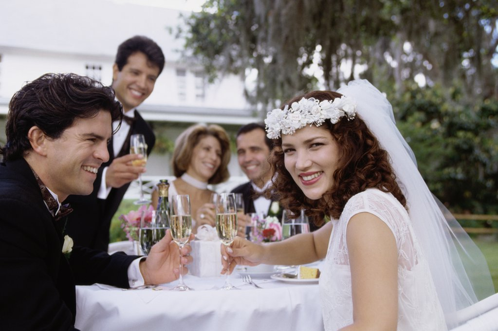 Stock Photo: 1574R-02539H Portrait of a newlywed couple and their friends toasting with champagne glasses