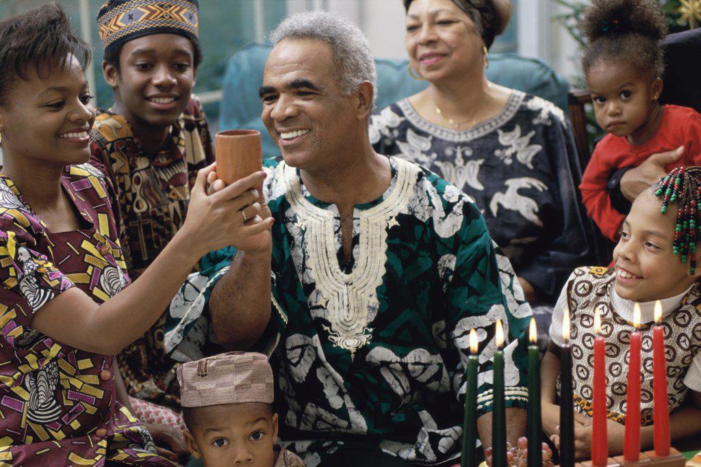 Family celebrating Kwanzaa : Stock Photo