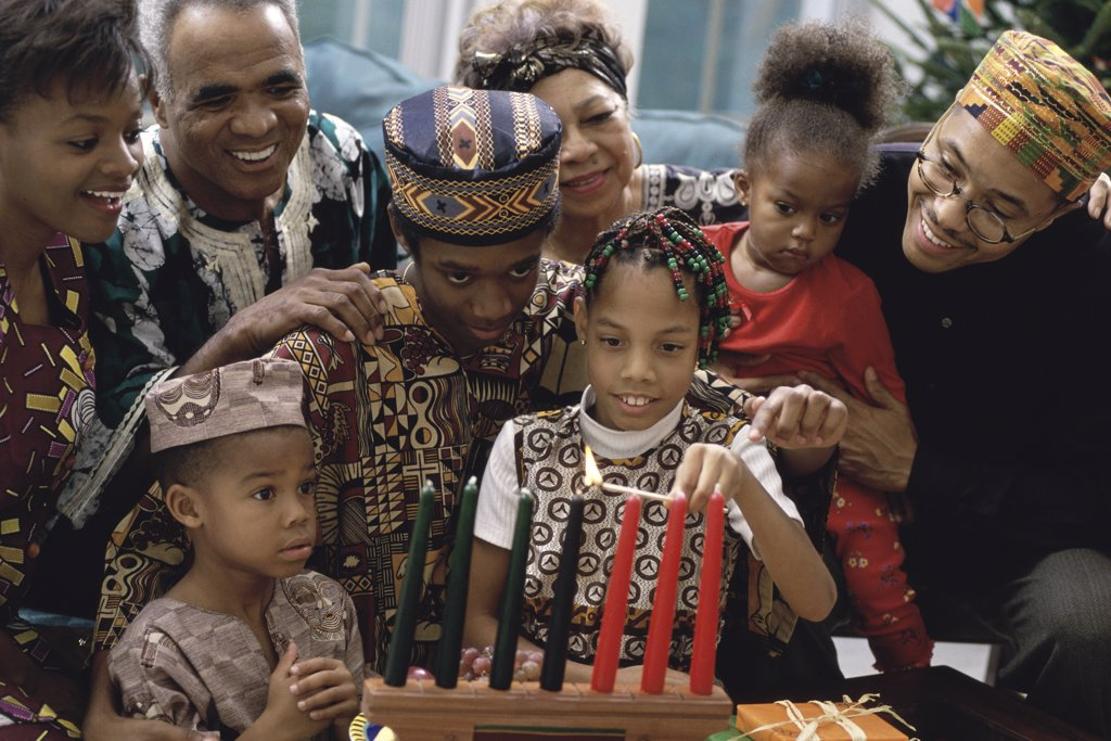 Stock Photo: 1574R-02611A Family celebrating Kwanzaa
