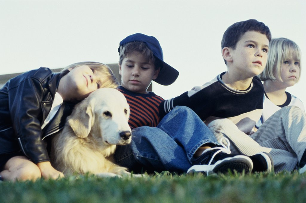 Group of children sitting with their dog : Stock Photo