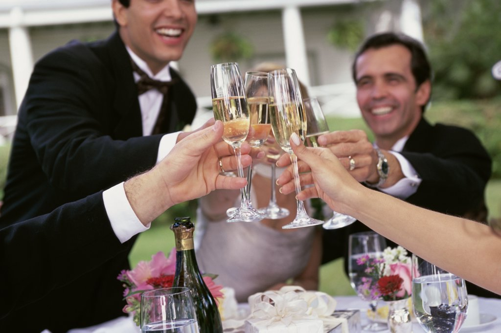 Stock Photo: 1574R-03854 Group of people toasting with glasses of champagne