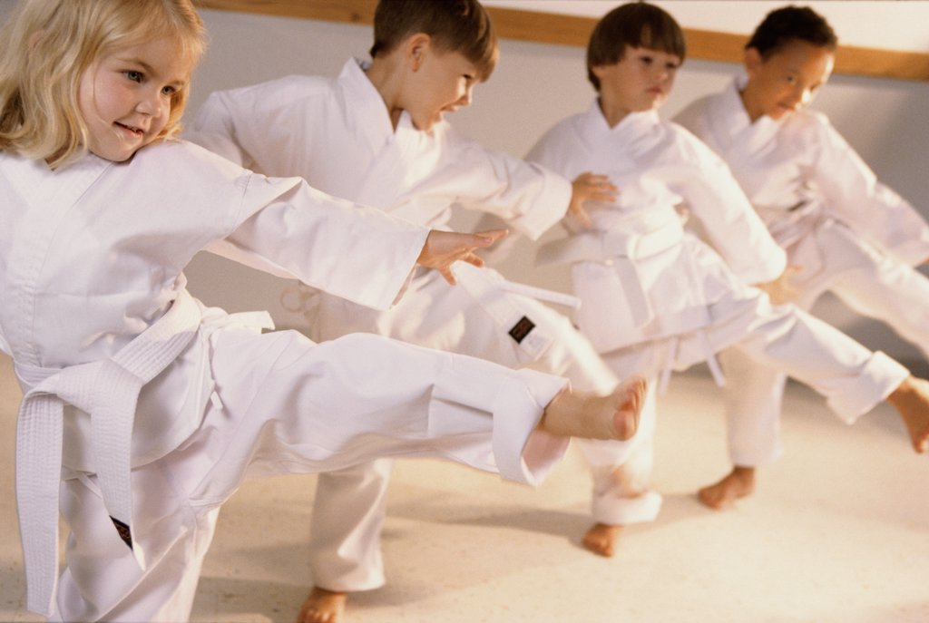 Group of children learning karate : Stock Photo