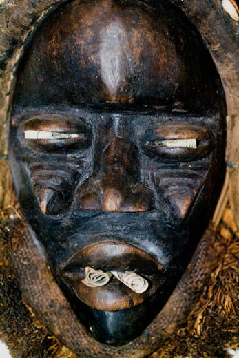 Stock Photo: 1574R-05132 Close-up of a Voodoo mask