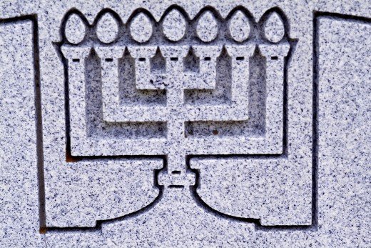 Close-up of menorah engraved on a wall : Stock Photo