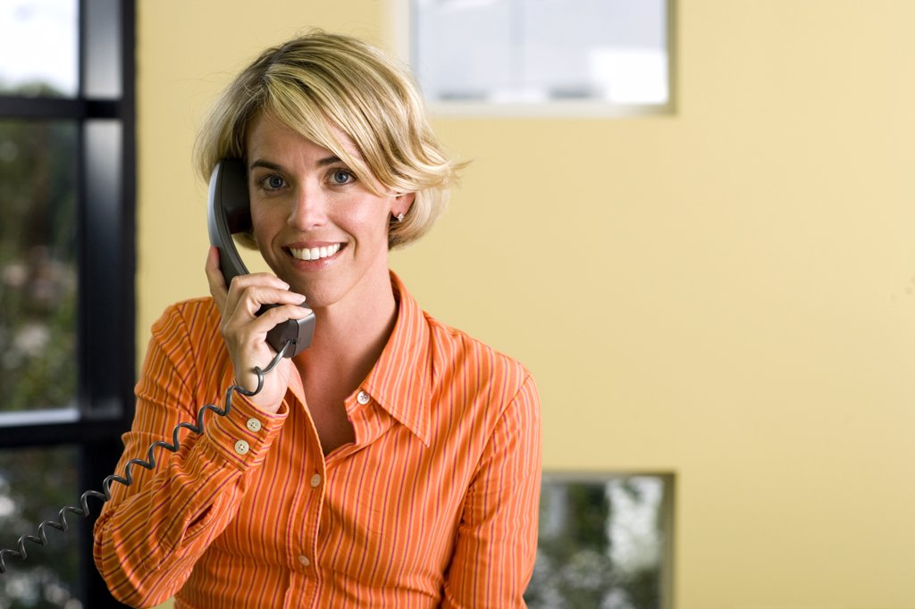 Portrait of a businesswoman talking on a telephone : Stock Photo