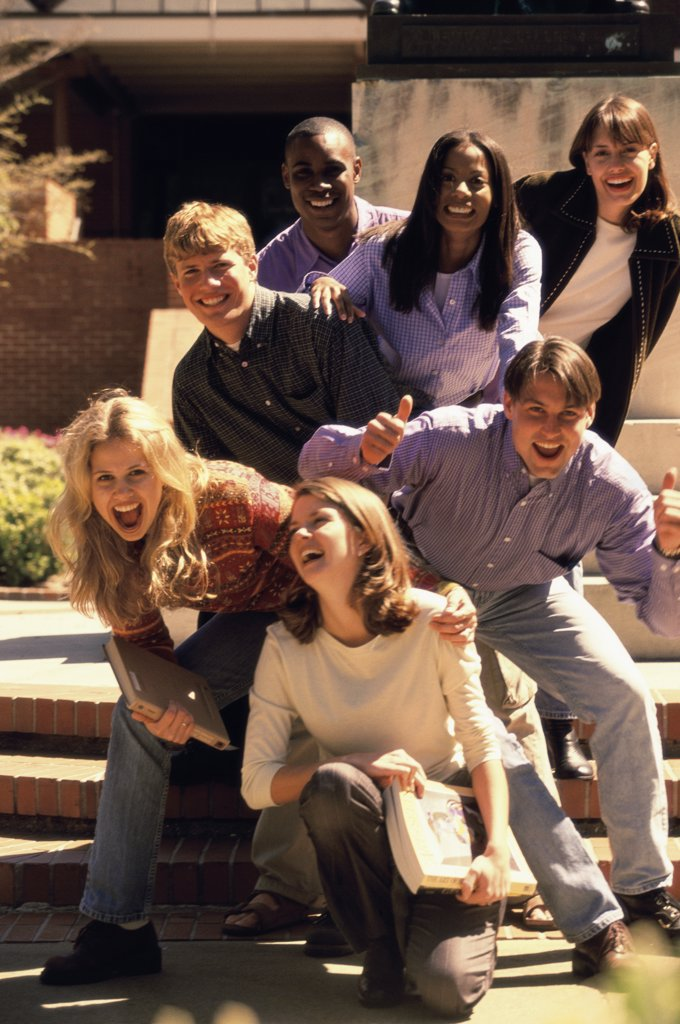Stock Photo: 1574R-0604B Group of young people laughing
