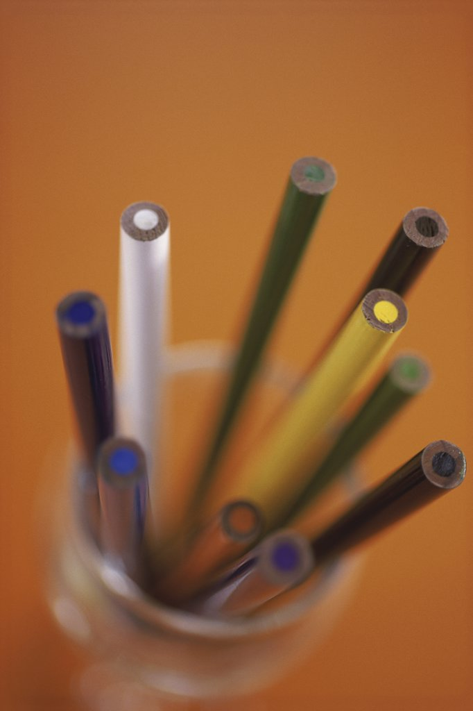 Stock Photo: 1574R-06926B Close-up of colored pencils in a container