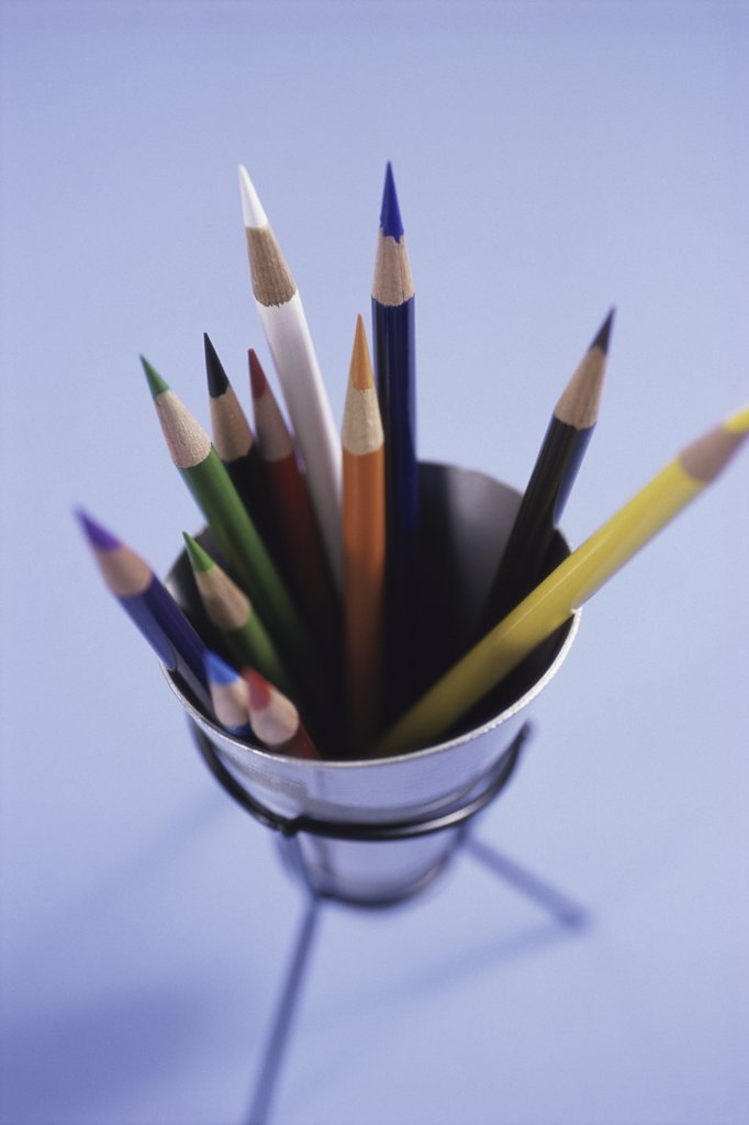 Close-up of colored pencils in a container : Stock Photo