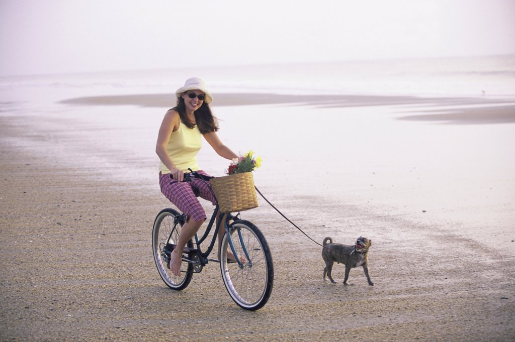 Stock Photo: 1574R-08277 Portrait of a young woman riding a bicycle with her dog running alongside