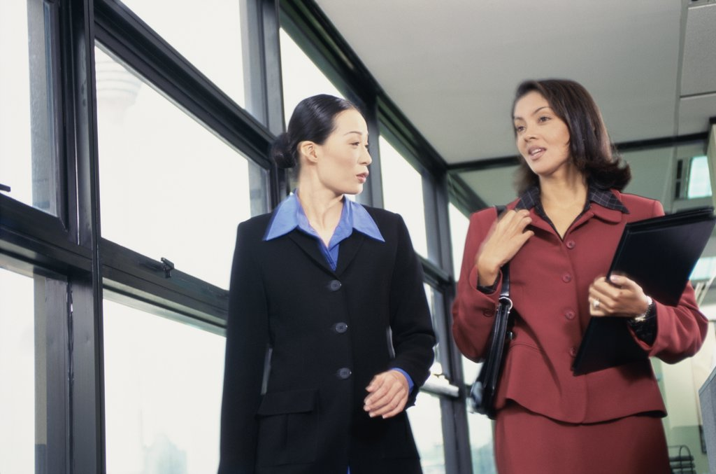 Two young businesswomen talking to each other : Stock Photo