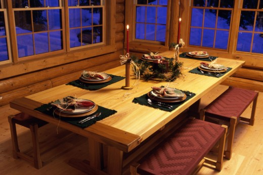Dining table set for a Christmas dinner : Stock Photo