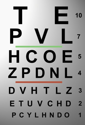Close-up of an eye chart : Stock Photo