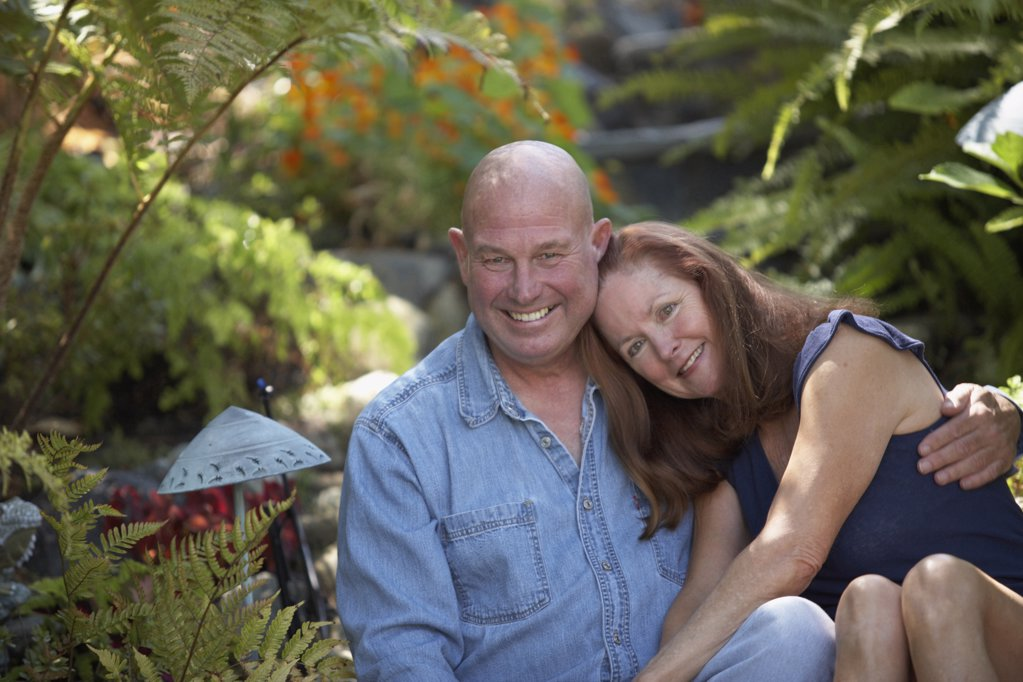 Stock Photo: 1574R-21075D Portrait of a mature couple smiling in a garden