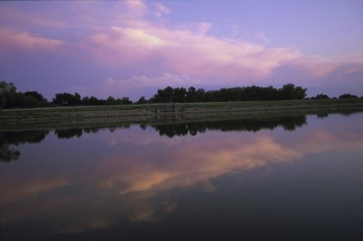 Stock Photo: 1574R-22233 Panoramic view of a lake during sunset, Kansas, USA