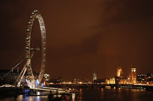 London Eye at night, London, England : Stock Photo