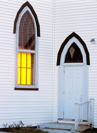 Stock Photo: 1574R-22746 Door of a church building, Nova Scotia, Canada