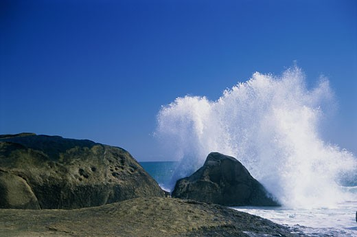 Stock Photo: 1574R-23160 Waves breaking on rocks, South Africa