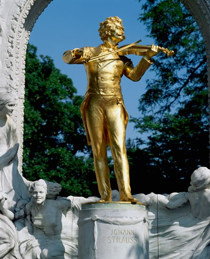 Low angle view of a golden statue, Johann Strauss Statue, Vienna, Austria : Stock Photo