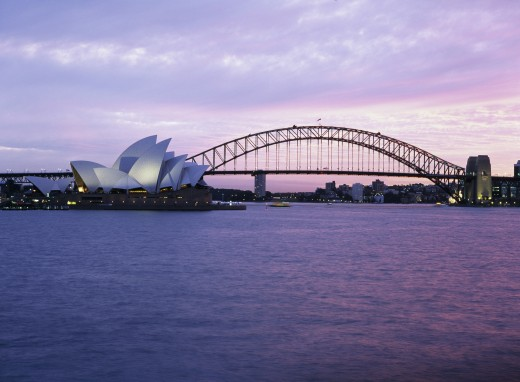 Stock Photo: 1574R-23464 Opera house with a bridge on the waterfront, Sydney Opera House, Sydney Harbor Bridge, Sydney, New South Wales, Australia