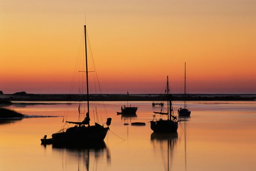 Silhouette of boats in the sea, Salt Run, Lighthouse Park, St. Augustine, Florida, USA : Stock Photo