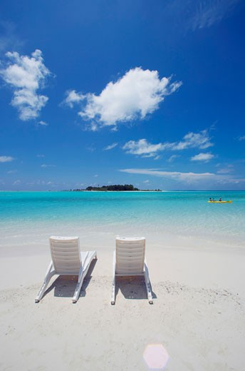 Stock Photo: 1574R-24361 High angle view of two beach chairs on the beach, Maldives