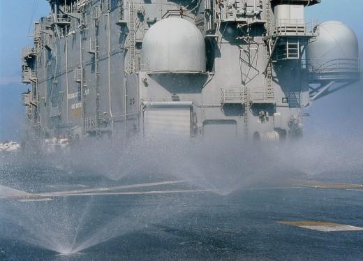 Close-up of a military ship, USS Saipan (LHA-2), US Navy : Stock Photo