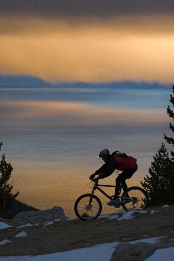 Stock Photo: 1574R-25288 Man riding a mountain bike