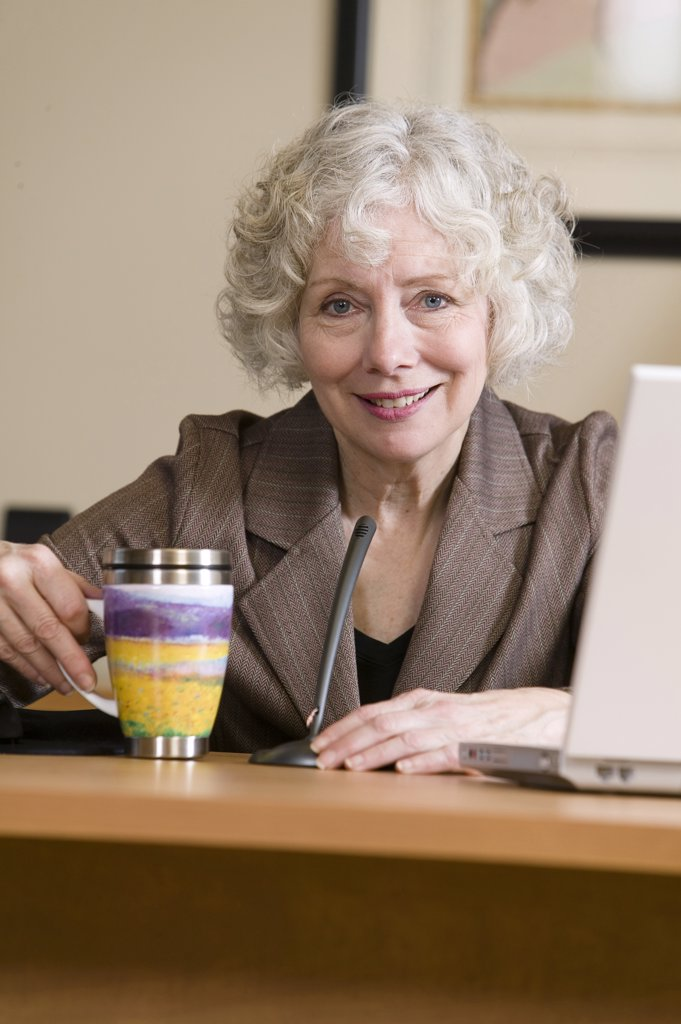 Portrait of a businesswoman sitting at a desk : Stock Photo