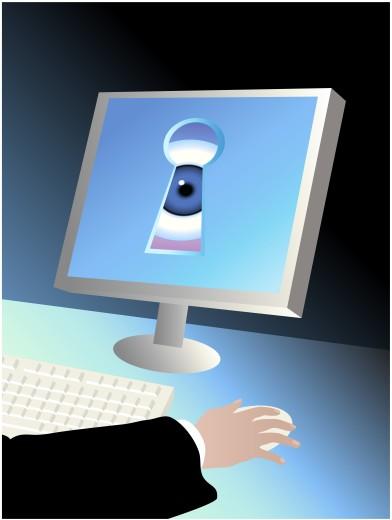 Stock Photo: 1574R-26253 Peering Eye 2 Linda Braucht (b.20th C. American) Computer graphics