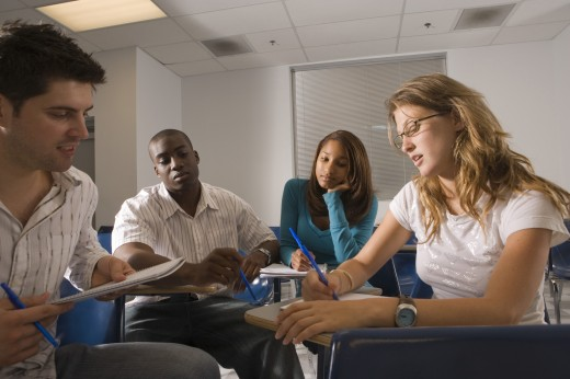 Stock Photo: 1574R-27196 University students in discussion in the classroom