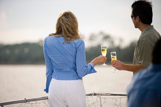 Rear view of a mid adult couple standing with glass of champagne : Stock Photo