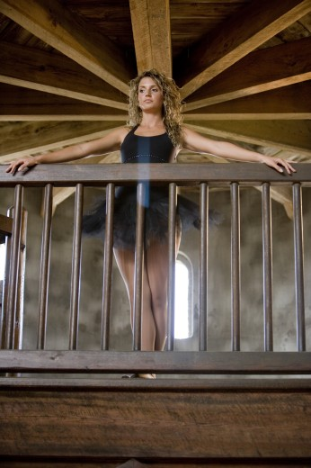 Low angle view of a ballet dancer standing by wooden railing : Stock Photo
