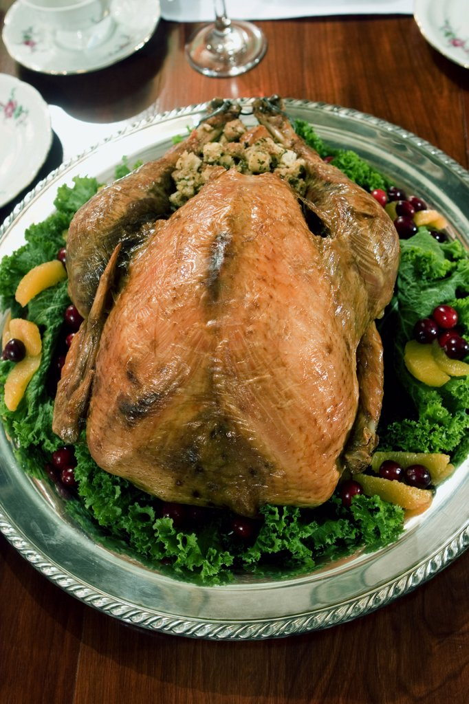 High angle view of a roast turkey : Stock Photo