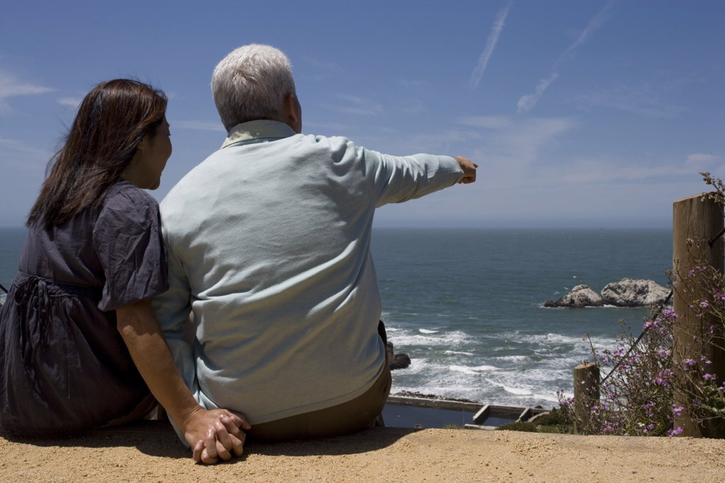 Rear view of a mature couple looking at the view : Stock Photo