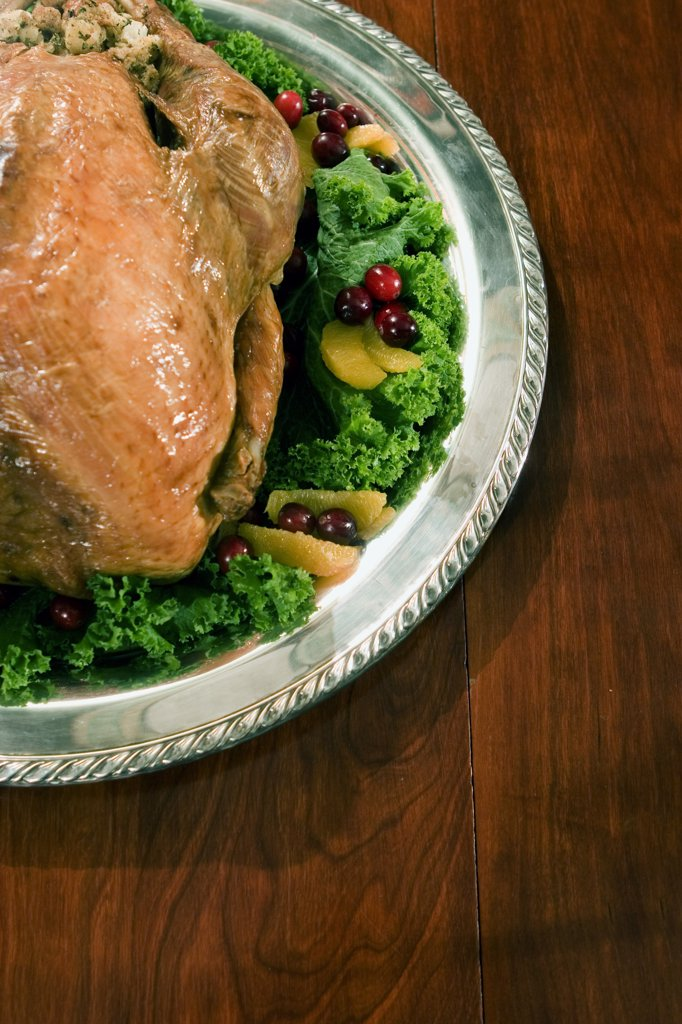 Stock Photo: 1574R-33858 High angle view of a roast turkey