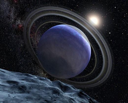 Artist's illustration of an Extrasolar Planet Orbiting Star HR 8799 : Stock Photo