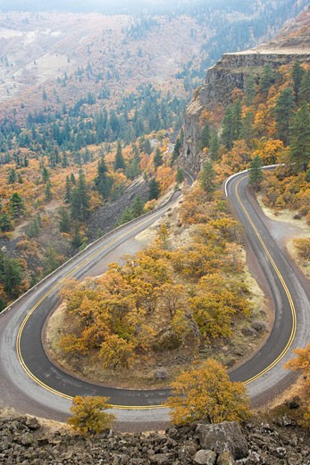 High angle view of a highway, Historic Columbia River Highway, Columbia River Gorge, Mosier, Oregon, USA : Stock Photo