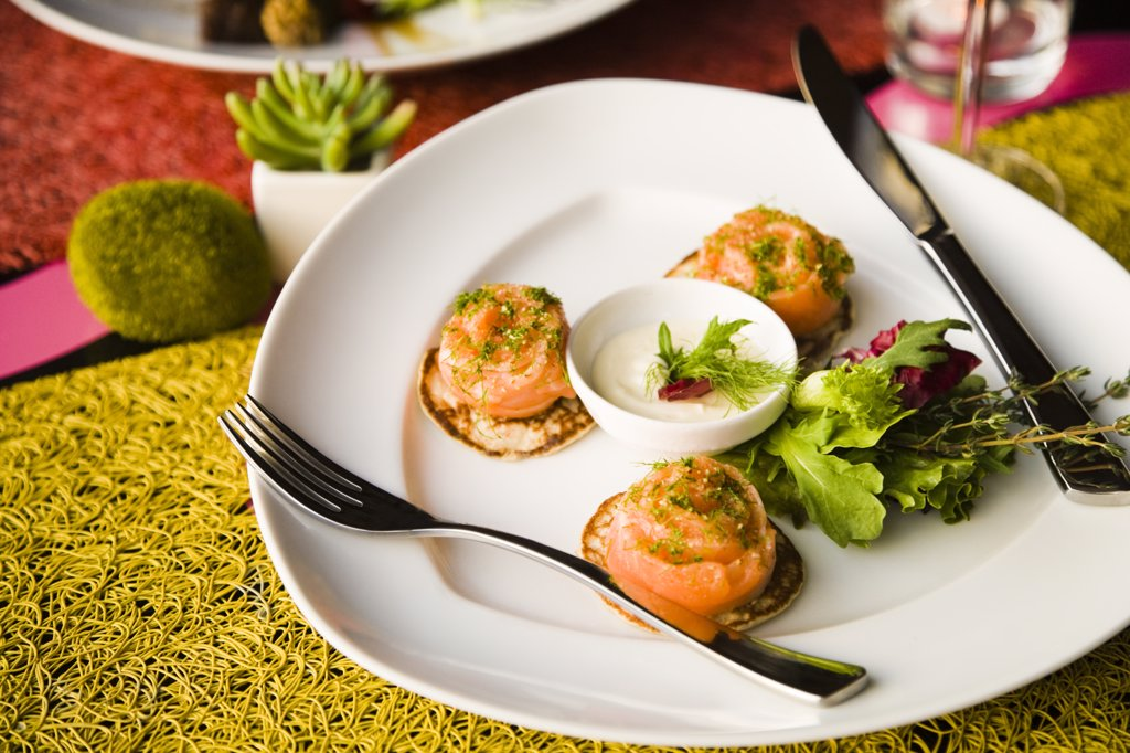 Canapes with cream on a table, Papeete, Tahiti, French Polynesia : Stock Photo