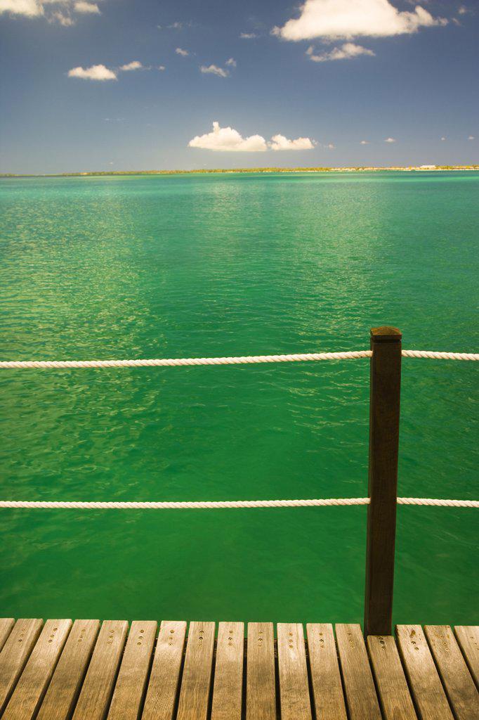 Sea viewed from a pier, Bora Bora, Tahiti, French Polynesia : Stock Photo