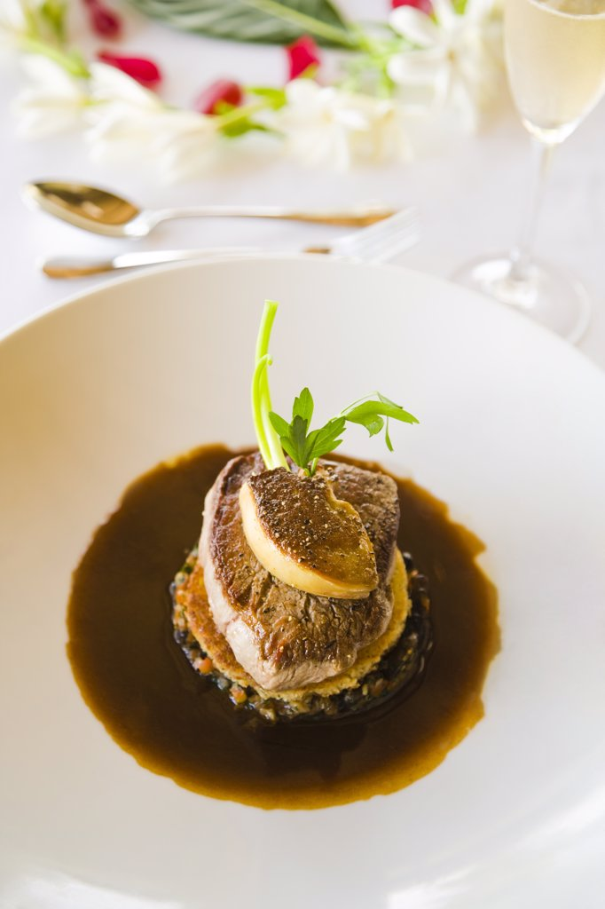 Stock Photo: 1574R-36552 Veal in mushroom sauce, Papeete, Tahiti, French Polynesia